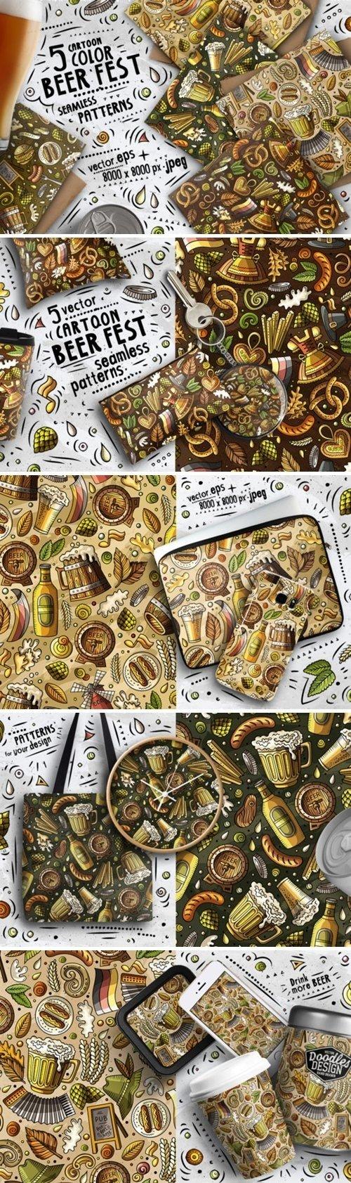 Beer Doodle Seamless Patterns Set - 4609730