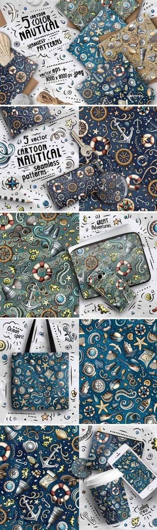 Nautical Doodle Seamless Patterns - 4607518