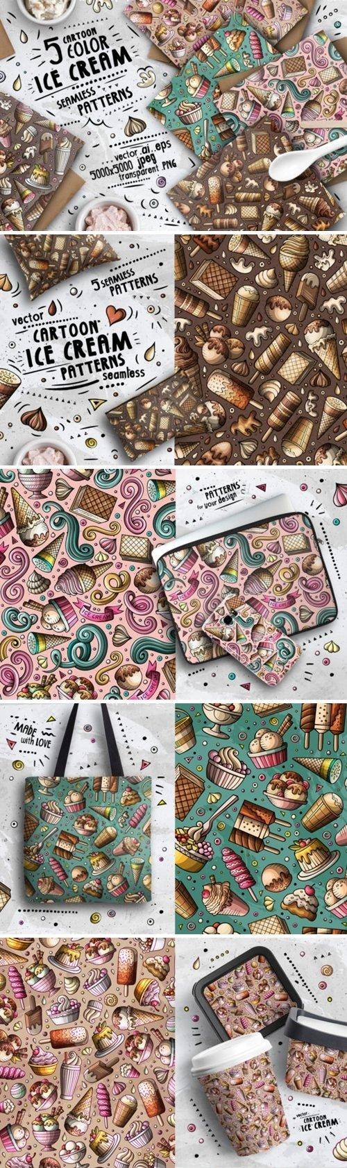 Ice Cream Doodle Seamless Patterns - 4609740
