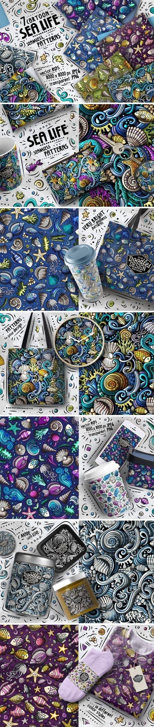 Sea Life Doodle Seamless Patterns - 4606025