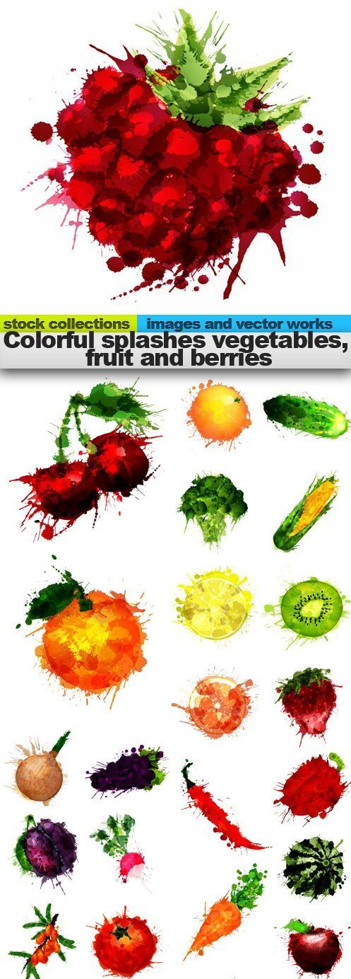 Colorful splashes Vegetables Fruit Berries