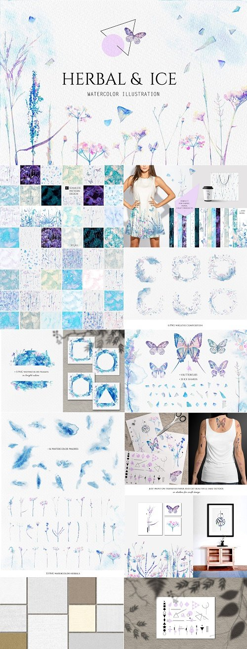 Watercolor floral design collection - 3067291