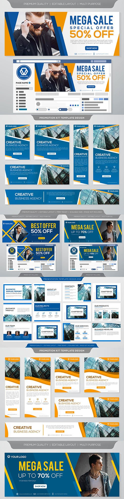 Presentation business and mega sale social media