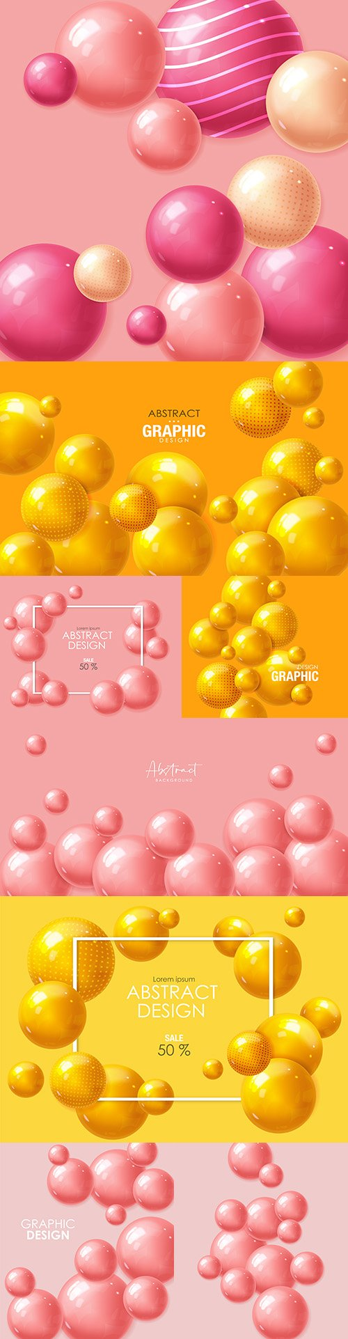 Realistic sphere pink and yellow abstract background