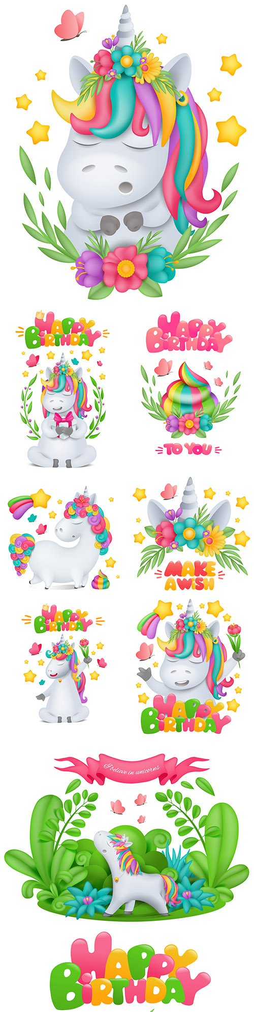 Unicorn cartoon birthday greeting card design