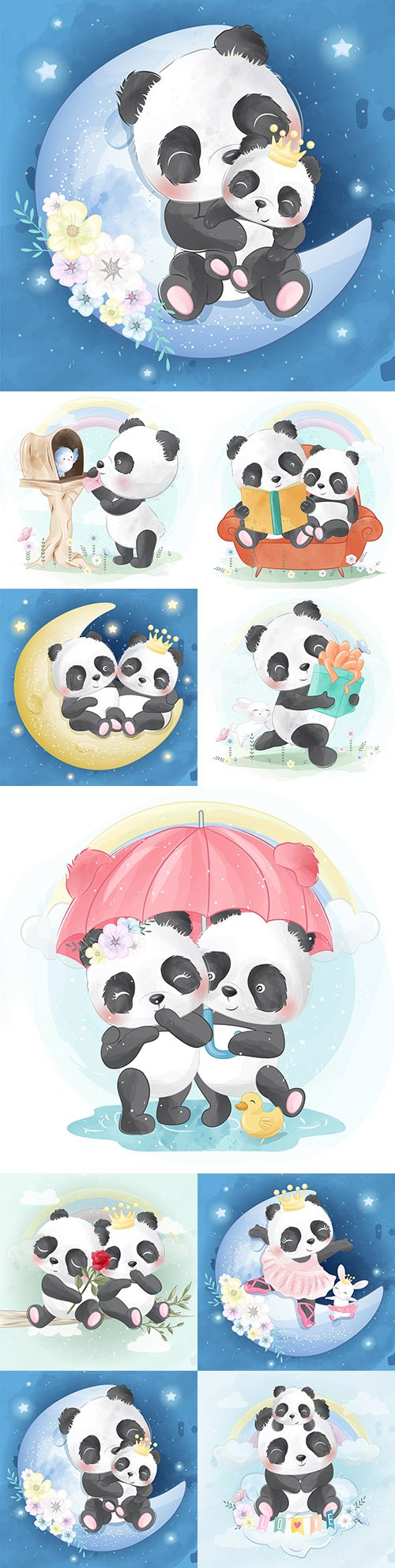 Cute panda with mom funny drawn illustrations