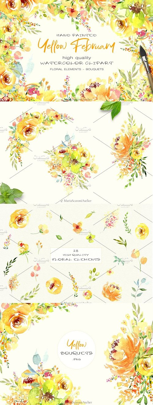 Watercolor flowers – Yellow February - 4590431