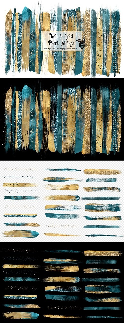 Teal and Gold Brush Strokes - 4615602
