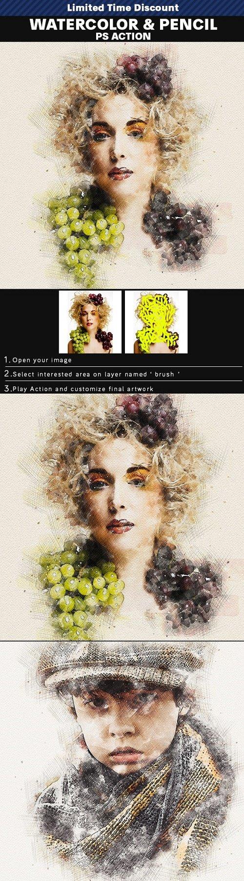 Watercolor & Pencil PHSP Action 25825237