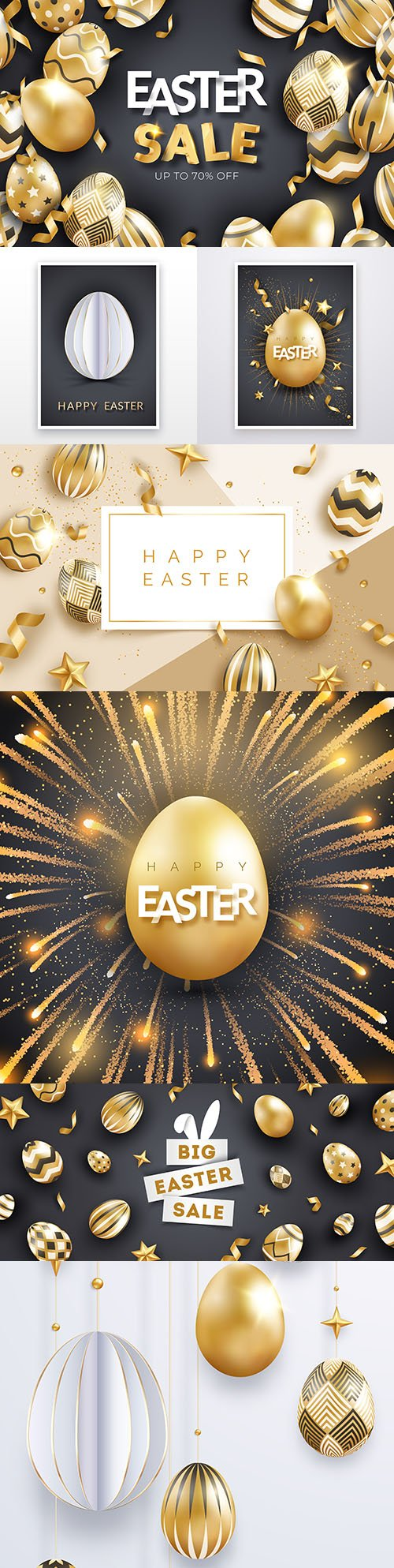 Easter postcard with realistic gold decorated eggs