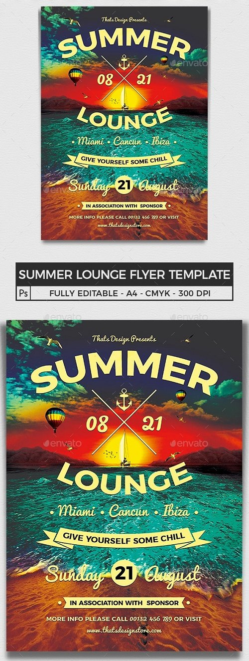 Summer Lounge Flyer Template V3 - 8168675 - 91234