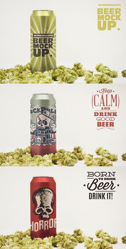 Front 16oz Beer Can Mockup - 4643963