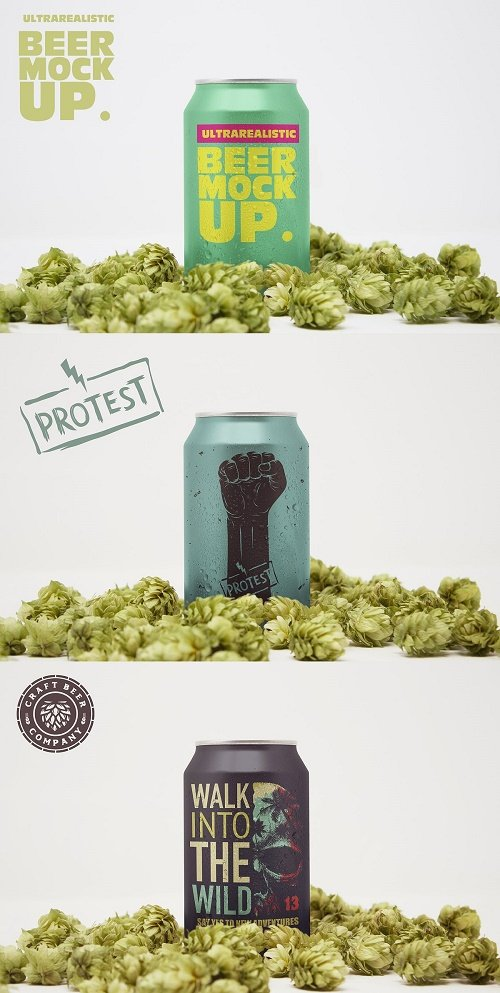 Front Hop Beer Can Mockup - 4627034
