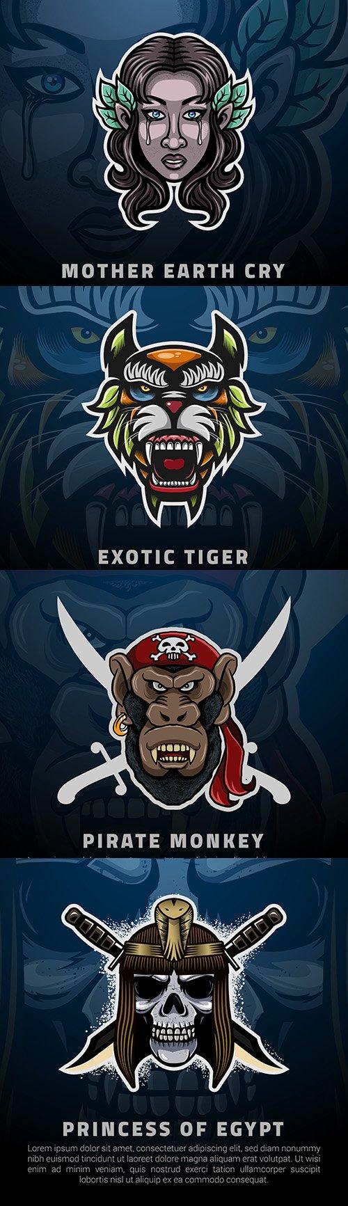 Emblem gaming mascot design esport illustration 12