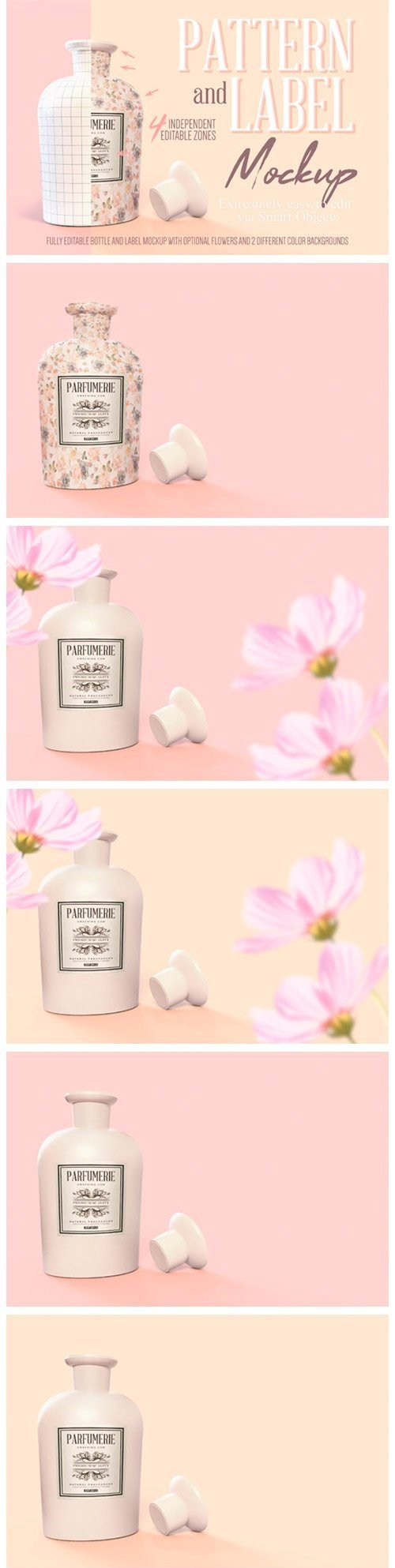 Pattern & Label Parfum Bottle Mockup - 4517819