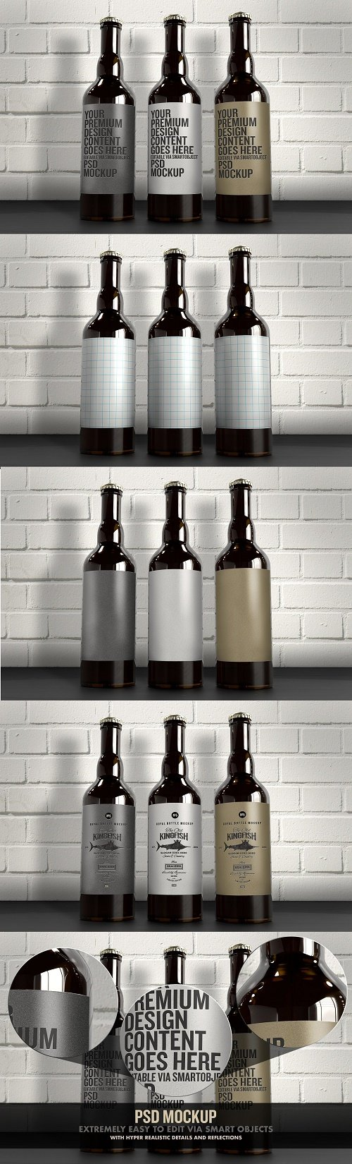 The 3 Beer Bottles Mockup - 4516634