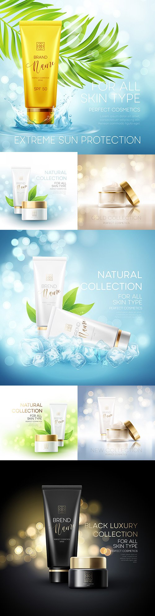 Design advertising cosmetic products and sun protection