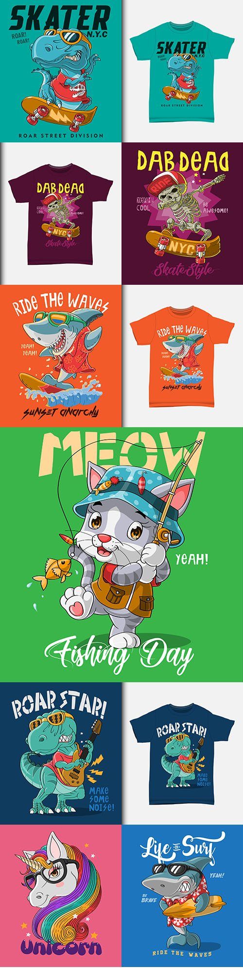 Cute illustration cartoon characters with T-shirt design
