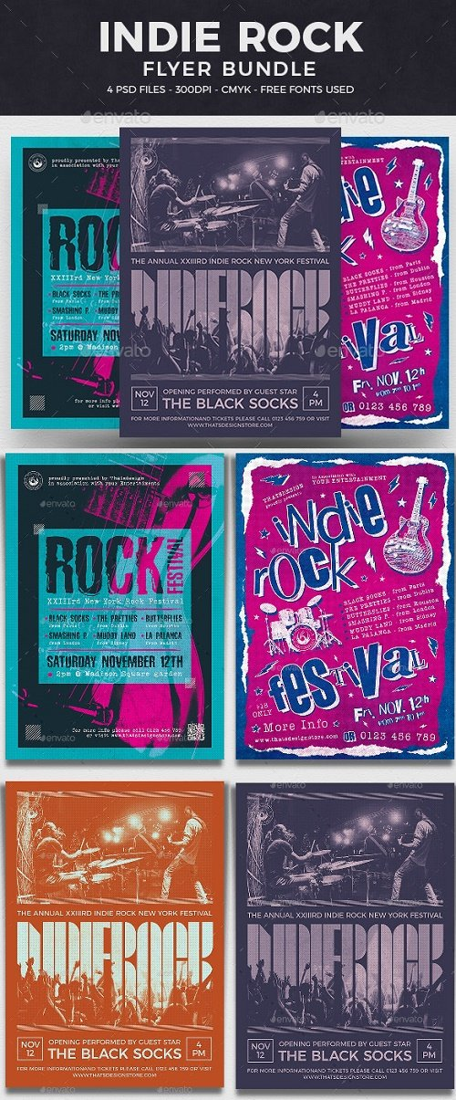 Indie Rock Flyer Bundle V3 - 25934504 - 4653026