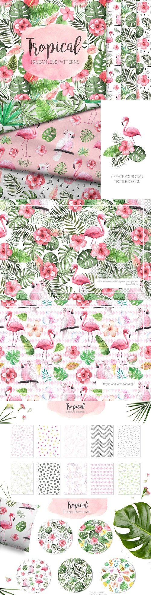 15 Watercolor Tropical Patterns Set - 2805066