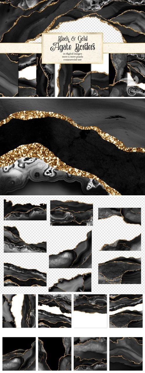 Black and Gold Agate Borders - 4575575