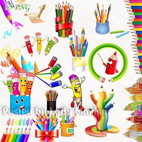 Клипарт на прозрачном фоне - Разноцветные карандаши