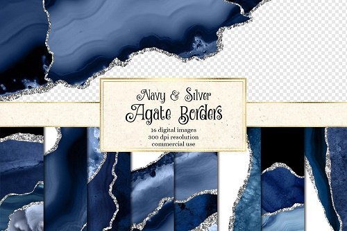 Navy & Silver Agate Borders - 4505389