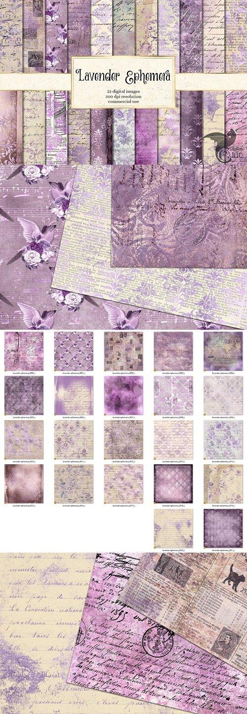 Lavender Ephemera Digital Paper - 2536081