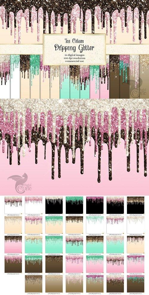 Ice Cream Dripping Glitter - 4480262