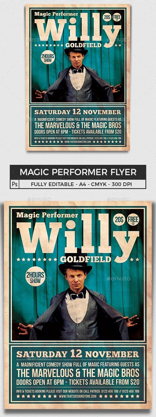 Magic Performer Flyer Template V1 - 8438074 - 91424