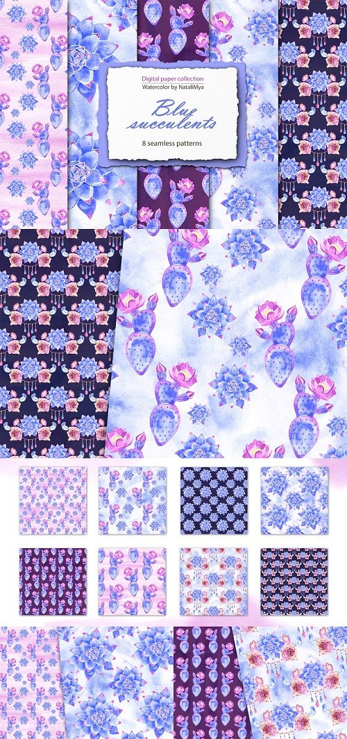 Blue succulents - boho papers pack - 4670432