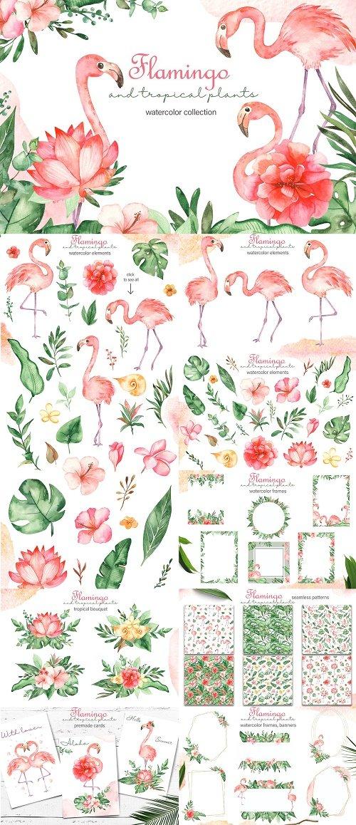 Watercolor flamingos and tropical plants - 4350369