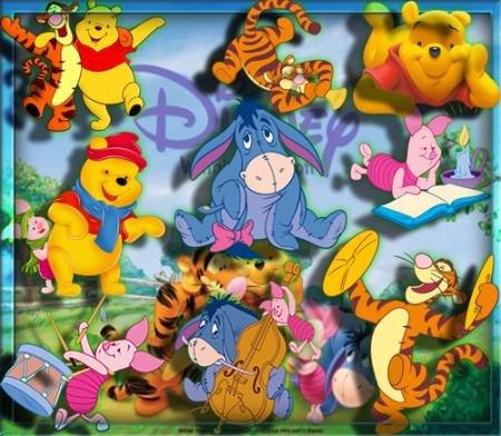 Клипарты для фотошопа - Лучшие герои мультфильма Вини Пух