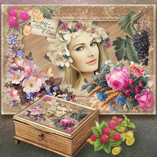 Винтажная рамка для декупажа - Мои любимы цветы