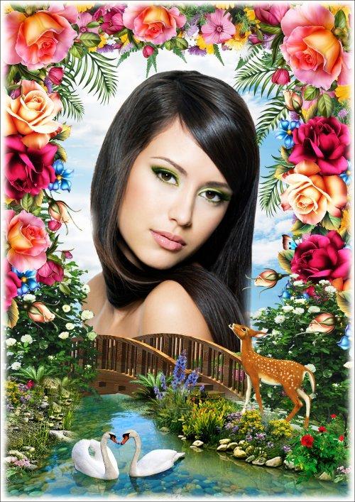 Цветочная рамка для Фотошопа с пейзажем - Весенний аромат
