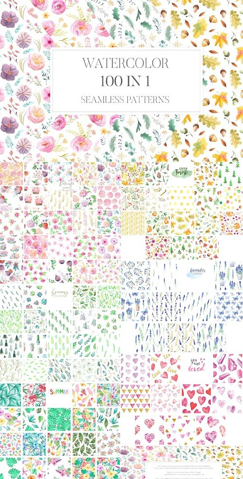 100 in 1 Watercolor Patterns Set - 2316155