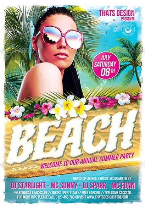 Beach Party Flyer Template V4 - 7958131 - 91151