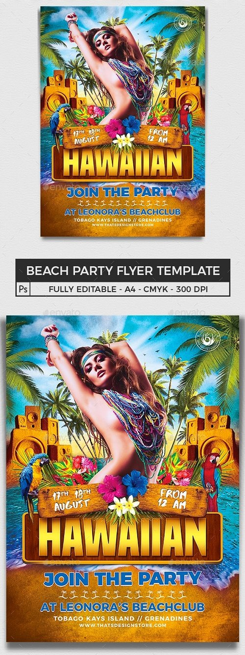 Beach Party Flyer Template V5 - 8146194 - 91220