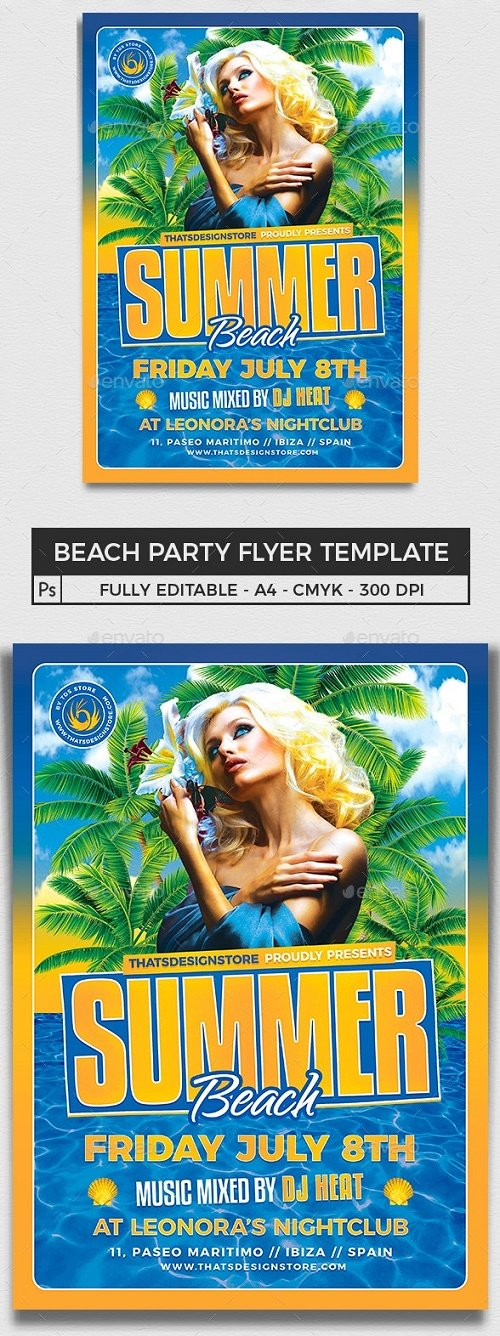 Beach Party Flyer Template V6 - 8157469 - 91230