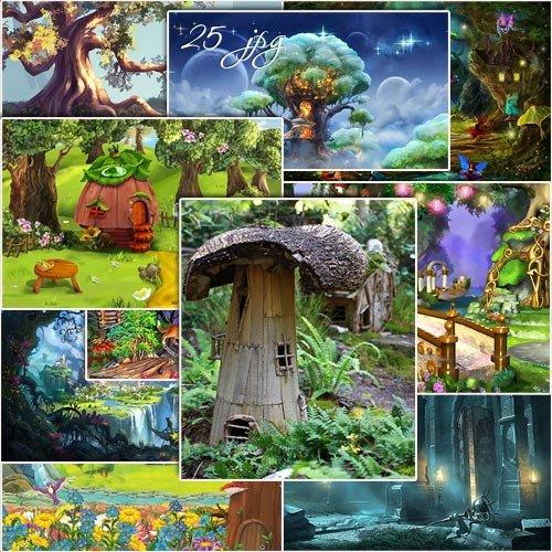 Набор сказочных, фантастических фонов для дизайна