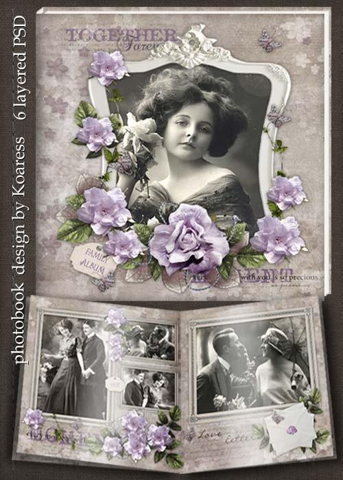 Шаблон винтажной фотокниги - Листая старые страницы