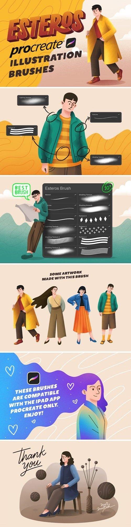Esteros Procreate Illustration Brushes - 4138290