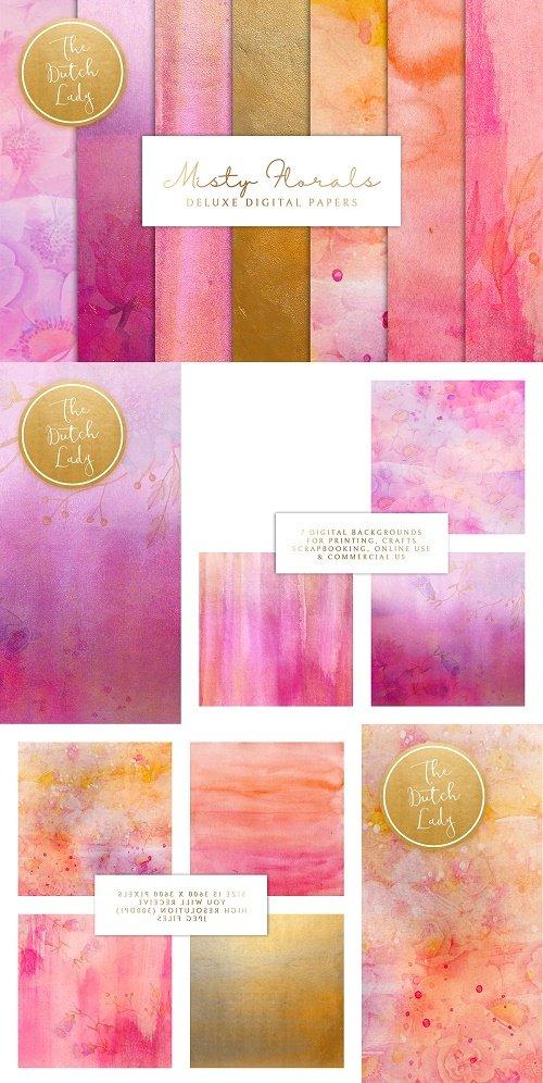 Misty Floral Digital Backgrounds - 4711523