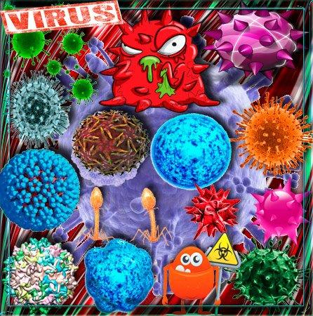 Png клипарты для фоторамки - Вирусы, коронавирусы