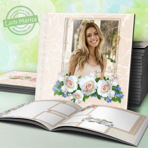 Фотокнига - Белые розы и незабудки