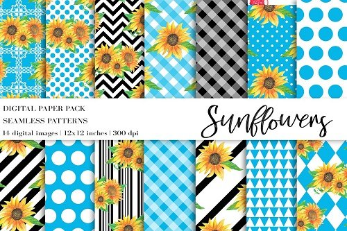Watercolor Sunflowers Digital Papers - 4708970