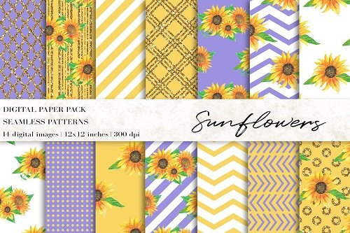 Watercolor Sunflowers Digital Papers - 4708819