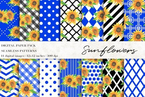 Watercolor Sunflowers Digital Papers - 4718942