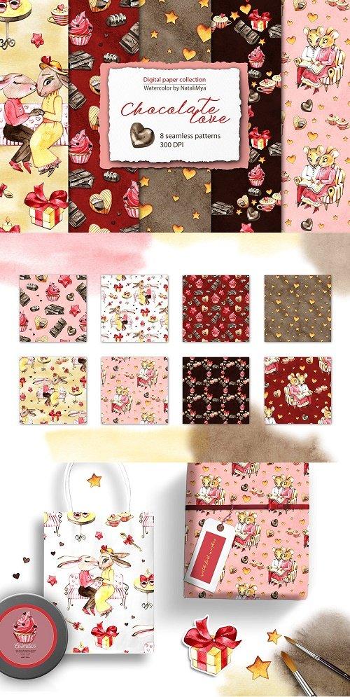 Watercolor Chocolate digital paper - 3932926