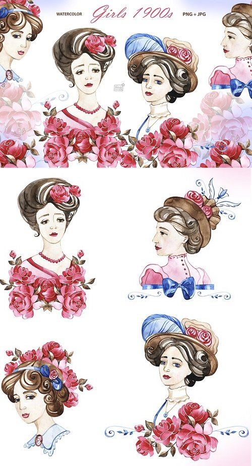 Vintage 1900s girls cliparts - 4728584